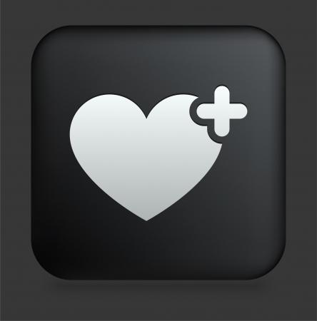 Icono de coraz?n en el bot?n de Internet Plaza negro Ilustraci?n original  Foto de archivo - 22352057