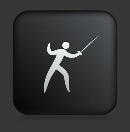 Fencing Icon on Square Black Internet Button Original Illustration