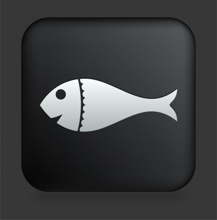 Fish Icon on Square Black Internet Button