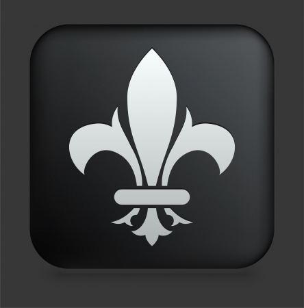 Fleur De Lis Icon on Square Black Internet Button Original Illustration Illustration