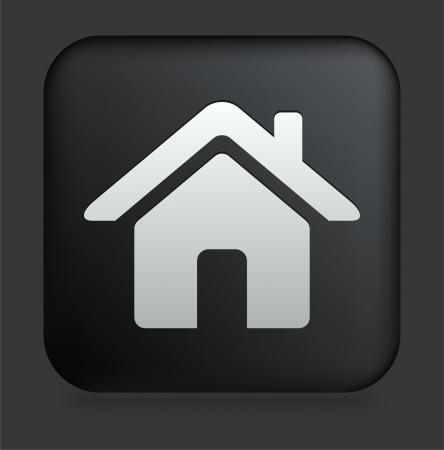 icon home: House Icon on Square Black Internet Button Original Illustration
