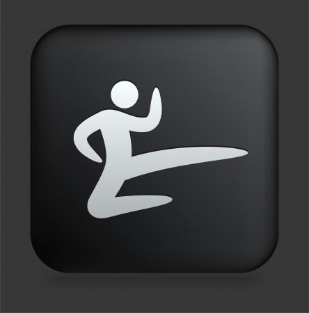 Karate Icon on Square Black Internet Button Original Illustration