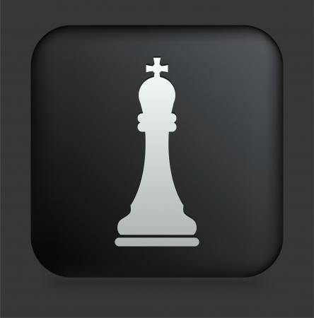 chess king: Chess King Icon on Square Black Internet Button Original Illustration Illustration