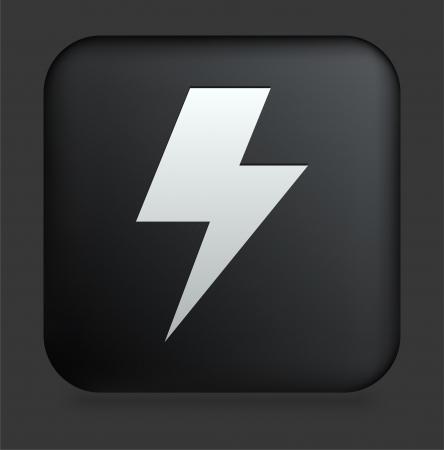 Lightening Icon on Square Black Internet Button Original Illustration Ilustrace