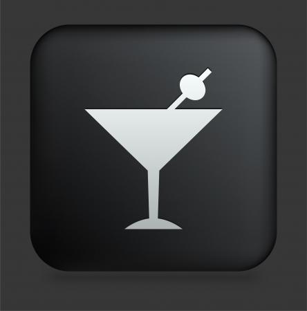 Martini Icon on Square Black Internet Button Original Illustration