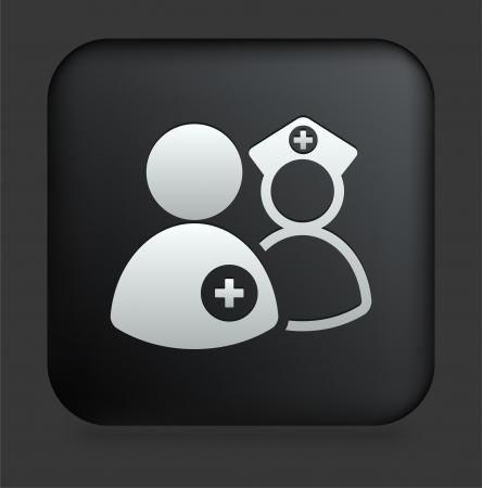 medical team: Medical Team Icon on Square Black Internet Button Original Illustration