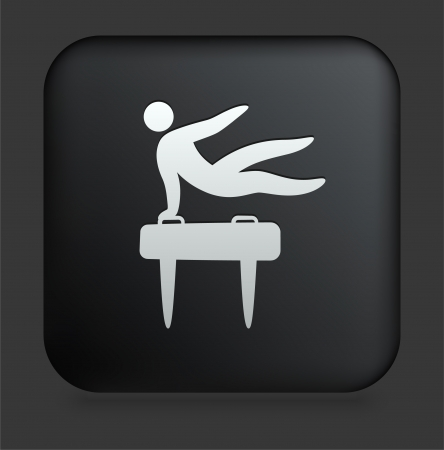 pommel: Pommel Horse Icon on Square Black Internet Button Original Illustration