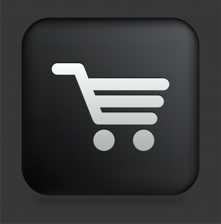 cart: Shopping Cart Icon on Square Black Internet Button Original Illustration