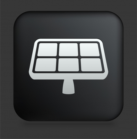 energy buttons: Solar Panel Icon on Square Black Internet Button Original Illustration