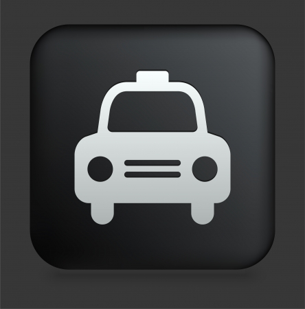 Taxi Cab Icon on Square Black Internet Button Original Illustration
