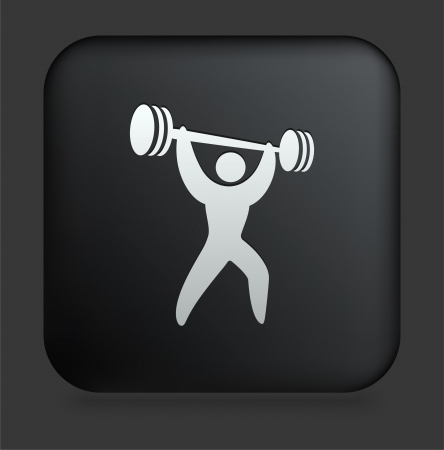 weightlifter: Weightlifter Icon on Square Black Internet Button Original Illustration Illustration