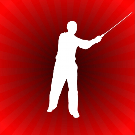 sensei: Karate Sensei with Sword on Glowing Red Background Original Illustration