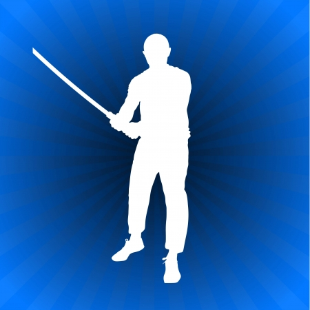sensei: Karate Sensei with Sword on Glowing Blue Background Original Illustration
