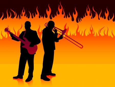 Live Band on Fire BackgroundOriginal Illustration