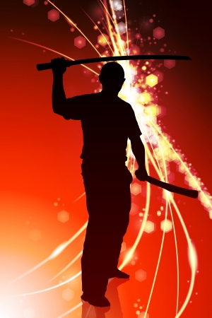 sensei: Karate Sensei with Sword on Abstract Light Background Original Illustration Illustration