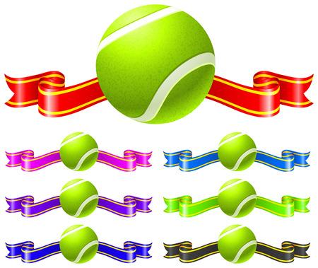 Tennis Ball with Ribbon set Original Vector Illustration Illustration