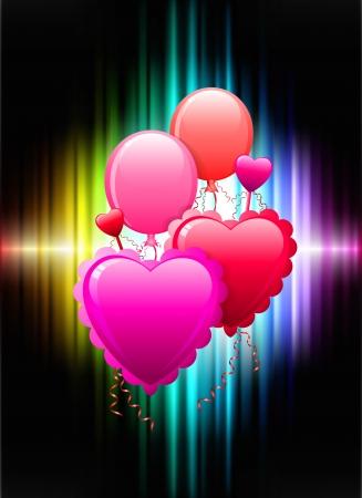Balloon Hearts on Abstract Spectrum Background Original Illustration Illustration