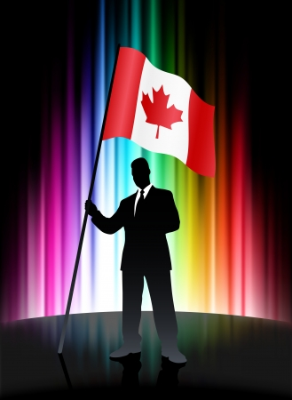 Canada Flag with Businessman on Abstract Spectrum BackgroundOriginal Illustration Stock Vector - 22352734