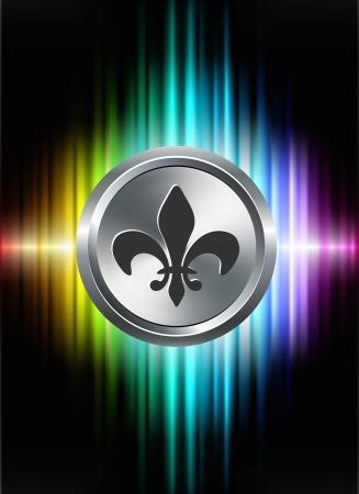 Fleur De Lis Icon Button on Abstract Spectrum Background Original Illustration
