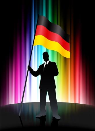 Germany Flag with Businessman on Abstract Spectrum BackgroundOriginal Illustration
