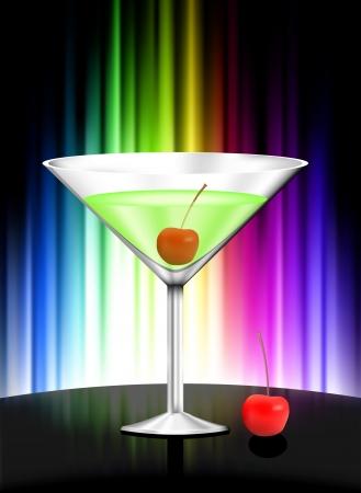 rainbow cocktail: Martini su sfondo astratto di spettro Illustrazione originale
