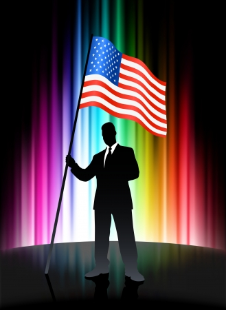 United States Flag with Businessman on Abstract Spectrum Background