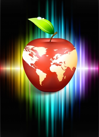 Apple Globe on Abstract Spectrum Background Original Illustration Vector