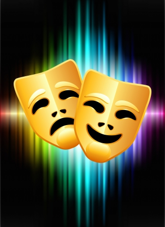 comedy and tragedy: Comedy and Tragedy Masks on Abstract Spectrum Background Original Illustration
