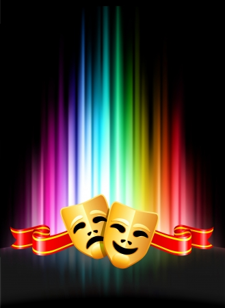 추상 스펙트럼 배경 원래 그림에 코미디와 비극 마스크
