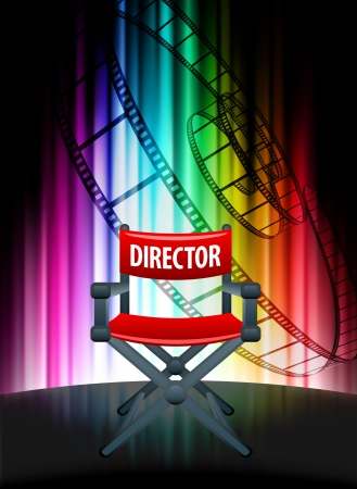Director Chair on Abstract Spectrum Background Original Illustration Vector