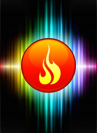 Fire Icon Button on Abstract Spectrum Background