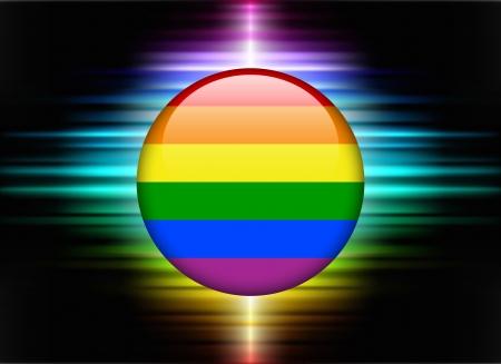 Rainbow Flag Icon Button on Abstract Spectrum Background Original Illustration 向量圖像
