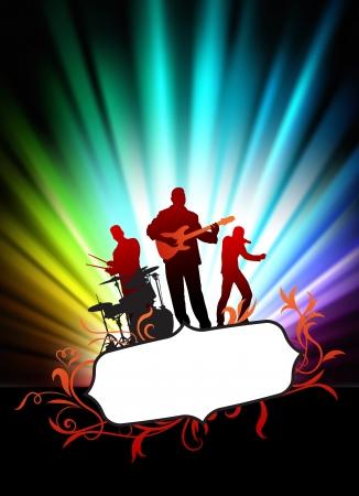 Vivere la musica band su astratto cornice tropicale con illustrazione originale di spettro