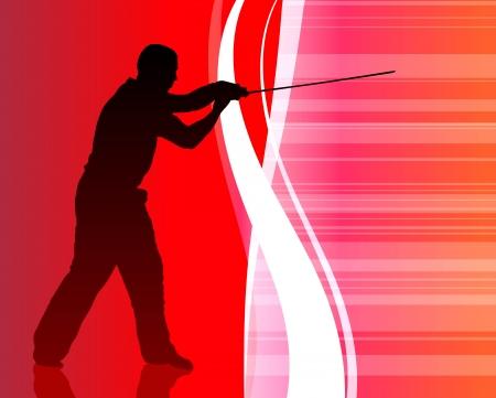 Karate Sensei with Sword on Abstract Internet Background Original Illustration