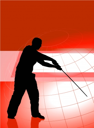 Karate Sensei with Sword on Red Business Background