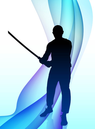 sensei: Karate Sensei with Sword on Abstract Wave Background Original Illustration