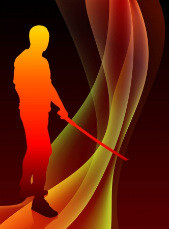 sensei: Karate Sensei with Sword on Abstract Blaze Wave Background Original Illustration