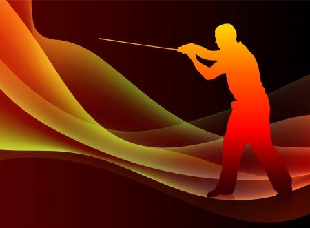 sensei: Karate Sensei with Sword on Abstract Blaze Wave Background Original Illustration