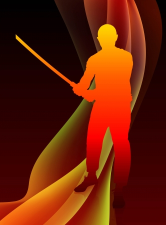 Karate Sensei with Sword on Abstract Blaze Wave Background