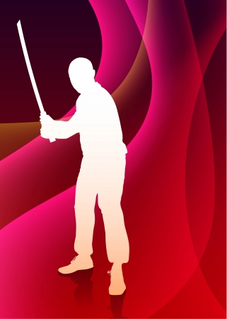 sensei: Karate Sensei with Sword on Abstract Violet Wave Background Original Illustration