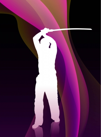 sensei: Karate Sensei with Sword on Flowing Purple Wave Background Original Illustration