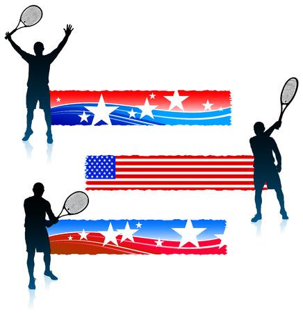 Tennis Player and United States Banner SetOriginal Vector Illustration 向量圖像