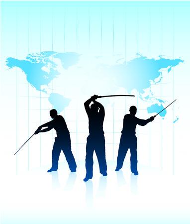 sensei: Karate Sensei with Sword on World Map Background Original Illustration