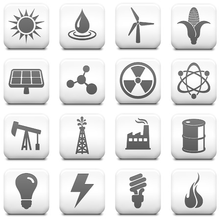 Ecology Icon on Square Black and White Button Collection Original Illustration