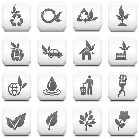 Nature Icon on Square Black and White Button Collection Original Illustration
