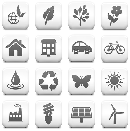 solar panel house: Environment Icon on Square Black and White Button Collection Original Illustration