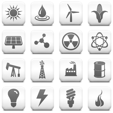 Energy Icon on Square Black and White Button Collection