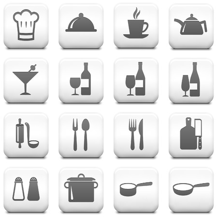 chef knife: Restaurant Icon on Square Black and White Button Collection Original Illustration