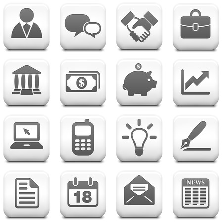 Economy Icon on Square Black and White Button Collection