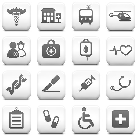 Medical Icon on Square Black and White Button CollectionOriginal Illustration
